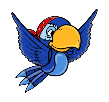 Pirate Blue Parrot - Vector Cartoon Illustration Vector