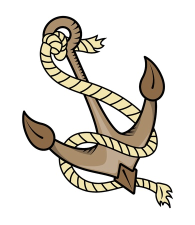 Ship Anchor with Rope - Vector Cartoon Illustration Vector