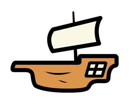 battle evil: Old Ship Minimal Illustration Illustration