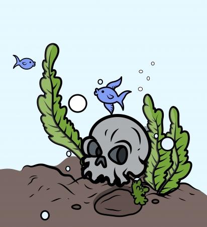 Skull in Sea Bottom - Vector Cartoon Illustration Vector