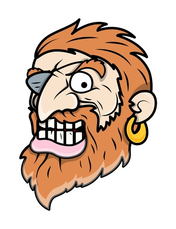 patched: Evil Eye Patched Beard Pirate Man - Vector Cartoon Illustration
