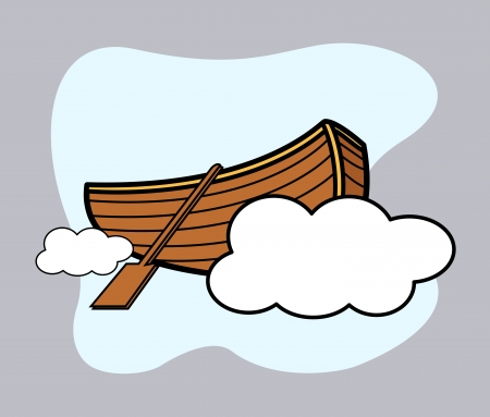 Old Wooden Boat Floating Over Cloud - Vector Cartoon Illustration Stock Vector - 21505420