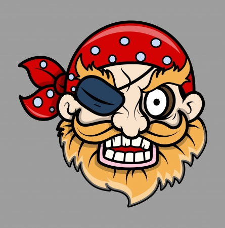 Angry Eye Patched Pirate Man - Vector Cartoon Illustration Vector