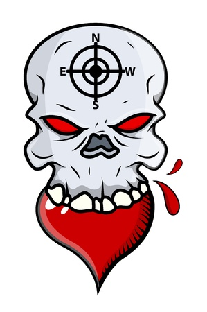 Heart Eating Skull - Vector Cartoon Illustration Vector