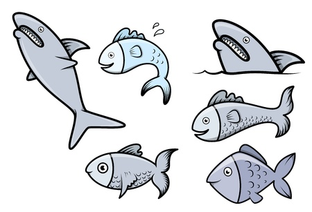 cartoon fish: Fish Set - Vector Cartoon Illustration