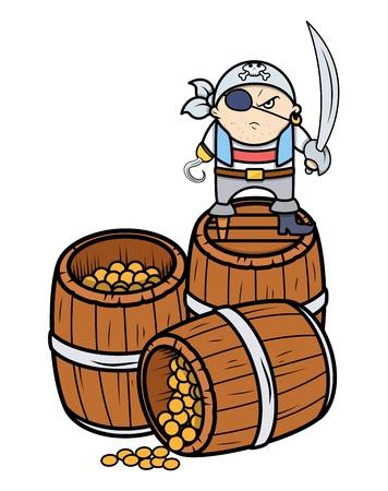 treasury: Cute Angry Pirate Captain with Treasure - Vector Cartoon Illustration