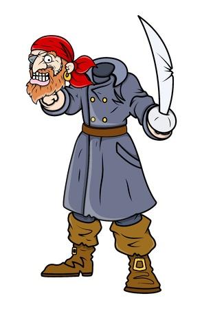 beheaded: Beheaded Captain Pirate - Vector Cartoon Illustration Illustration
