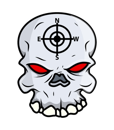 Creepy Skull - Vector Cartoon Illustration Vector