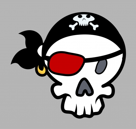 Pirate Eye Patched Skull Vector