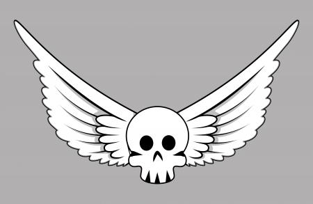 Skull with Wings - Vector Cartoon Illustration Vector