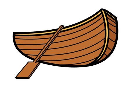 Old Vintage Wooden Boat - Vector Cartoon Illustration Illustration