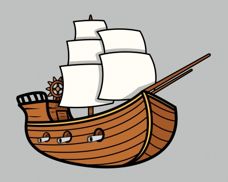 Old Vikings Vintage Ship - Vector Cartoon Illustration Vector
