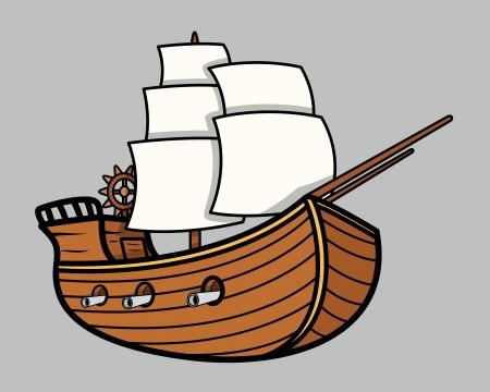 paddle: Old Vikings Vintage Ship - Vector Cartoon Illustration