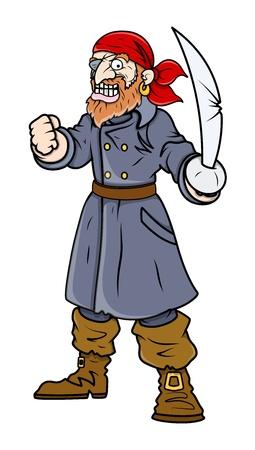 battle evil: Captain Pirate - Vector Cartoon Illustration