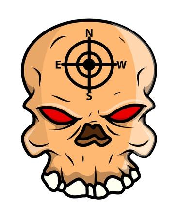 horrible: Horrible Skull - Vector Cartoon Illustration Illustration