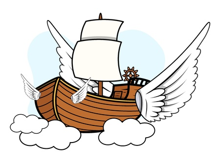 Flying Ship - Vector Cartoon Illustration Vector