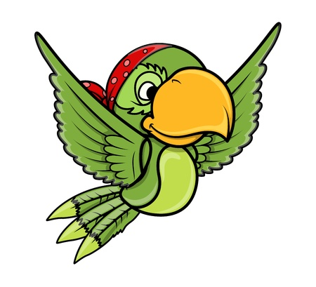 Flying Parrot - Vector Cartoon Illustration Vector