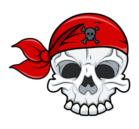 Pirate Skull Tattoo - Vector Cartoon Illustration Vector