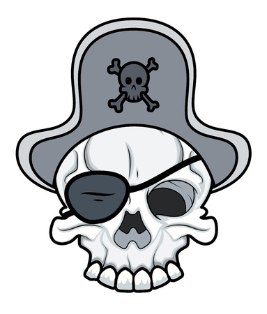 Pirate Eye Patched Tattoo Skull Vector