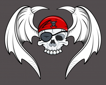 satan: Flying Pirate Skull - Vector Cartoon Illustration Illustration