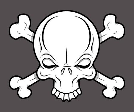 Crossed Skull Tattoo - Vector Cartoon Illustration Vector