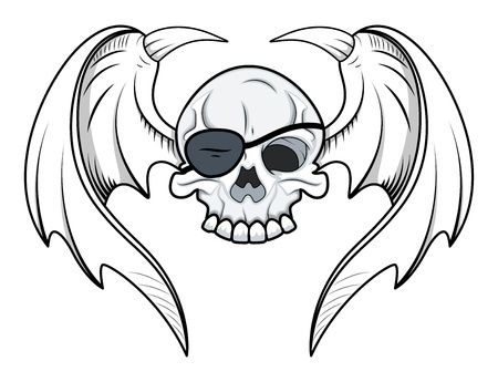 Flying Eye Patch Skull - Vector Cartoon Illustration Illustration
