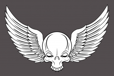 Flying Skull - Vector Cartoon Illustration Vector