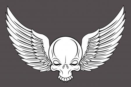skull vector: Flying Skull - Vector Cartoon Illustration
