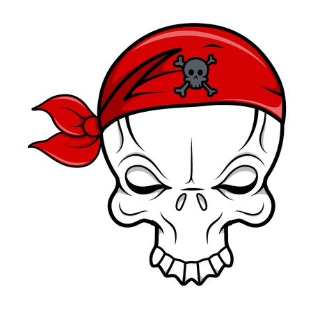 Pirate Skull - Vector Cartoon Illustration Vector