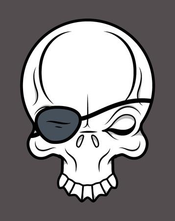 Eye Patch Skull - Vector Cartoon Illustration Vector