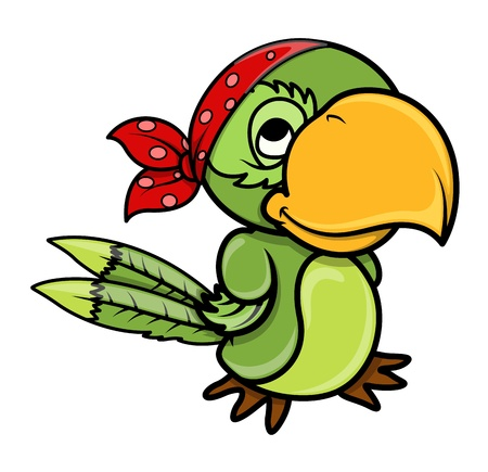 pirate parrot - Vector Cartoon Illustration Vector