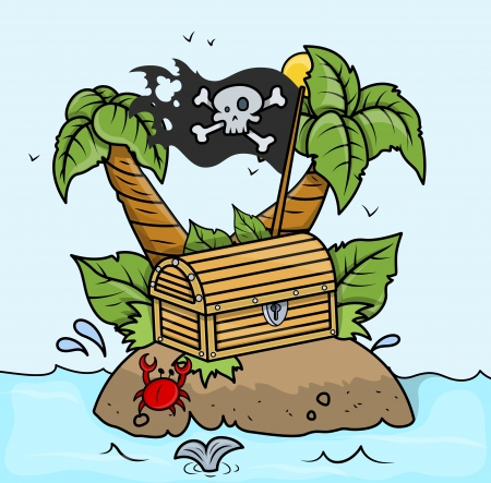 Treasure Island in Sea - Vector Cartoon Illustration Vector