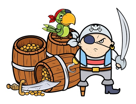 pirate captain with treasure and parrot - Vector Cartoon Illustration Vector