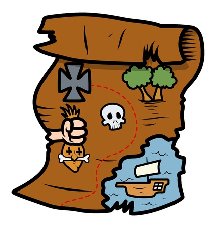 treasure map - Vector Cartoon Illustration Vector