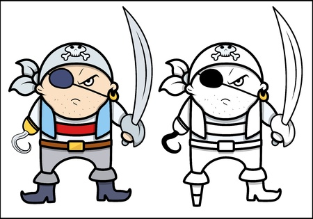 angry pirate captain - Vector Cartoon Illustration Vector