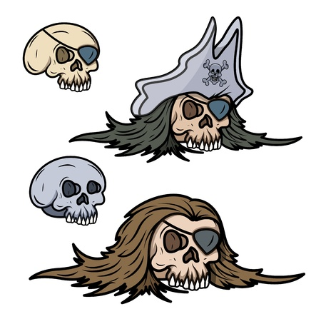 pirate captain skull - Vector Cartoon Illustration Stock Vector - 21505663
