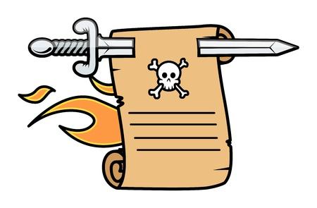 vintage burning parchment scroll message - Vector Cartoon Illustration Stock Vector - 21505734