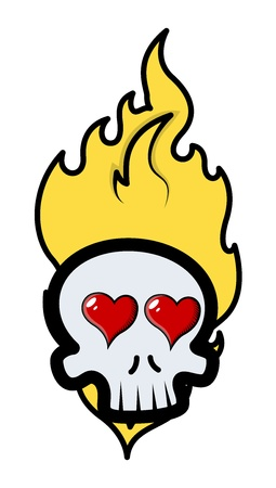 horny: funny romantic skull tattoo with flames and hearts - Vector Cartoon Illustration