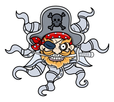 creepy octopus head captain pirate - Vector Cartoon Illustration Vector