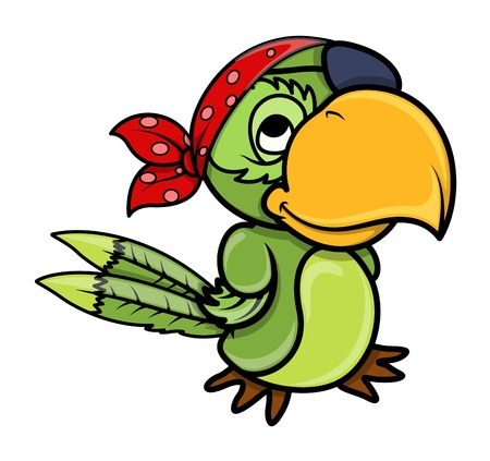 cartoon face: pirate parrot Illustration