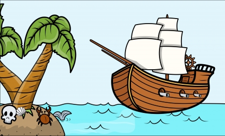 pirate ship and tropical island - Vector Cartoon Illustration Vector