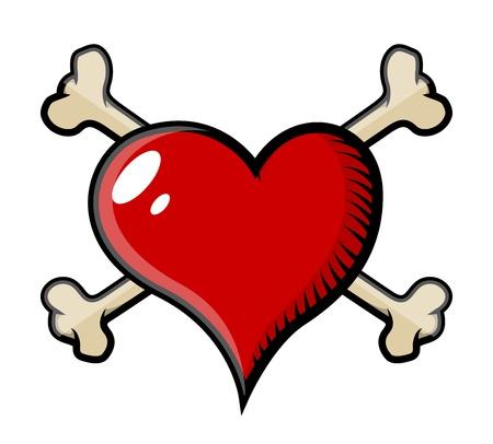 color tribal tattoo: crossed bones heart tattoo - Vector Cartoon Illustration Illustration