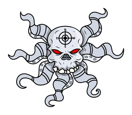 creepy octopus head skull - Vector Cartoon Illustration Vector
