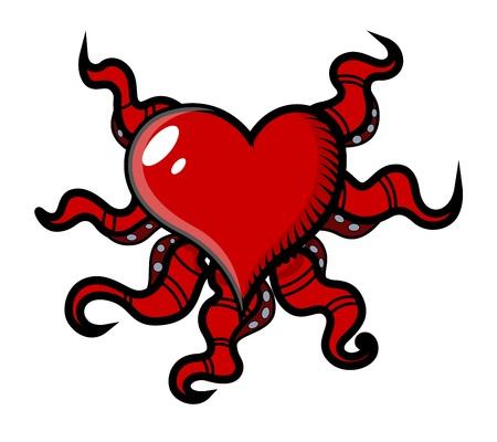 creepy octopus head heart - Vector Cartoon Illustration Stock Vector - 21505739