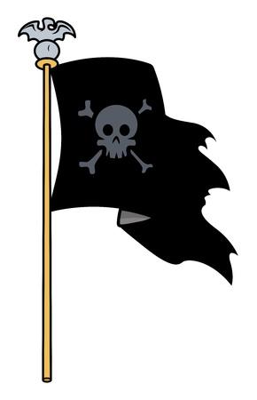 jolly roger: Jolly Roger Flag - Vector Cartoon Illustration Illustration