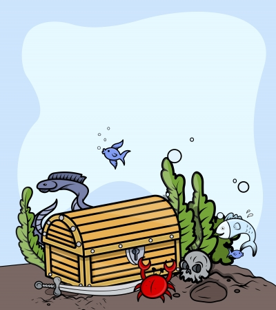 Treasure Trunk Under The Sea - Vector Cartoon Illustration Vector