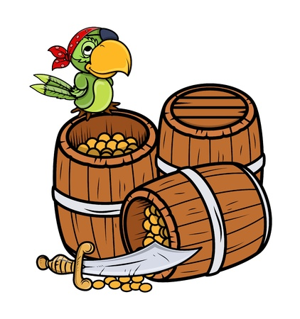 pirate captain: Treasure and Pirate Parrot - Vector Cartoon Illustration
