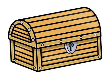 Treasure Trunk - Vector Cartoon Illustration Vector