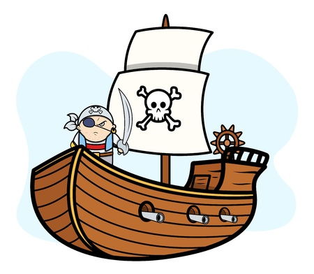 Eye Patched Captain Pirate on Pirate Ship - Vector Cartoon Illustration Vector