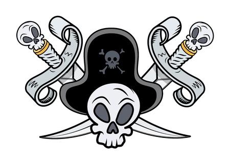 crossed swords: Pirate Sign - Espadas cruzadas y cr�neo - Vector ilustraci�n de la historieta